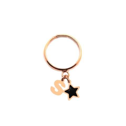 Anello regolabile argento 925 oro rosa Lettera iniziale e stella nera