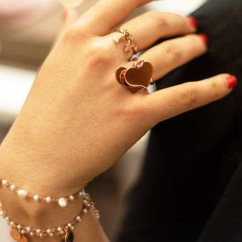 Anello regolabile argento 925 oro rosa Luna + Stella Zirconi