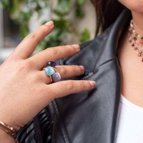 Anello regolabile argento 925 oro rosa Opale azzurro