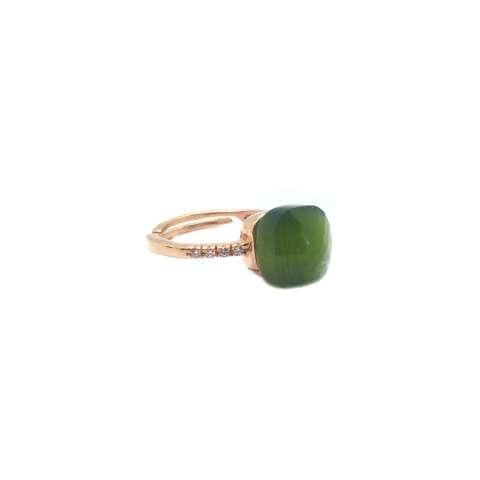 Anello regolabile argento 925 oro rosa Opale verde salvia