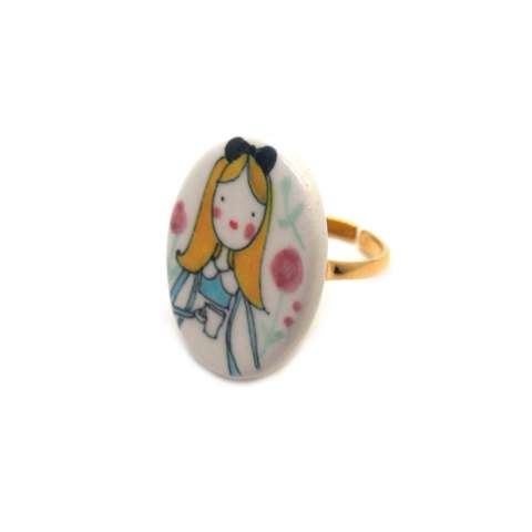Anello regolabile in porcellana Alice nel paese delle Meraviglie