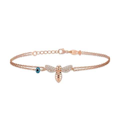 Bracciale argento 925 oro rosa Ape brillanti