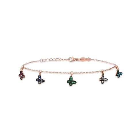 Bracciale argento 925 oro rosa ciondoli Farfalle colorate