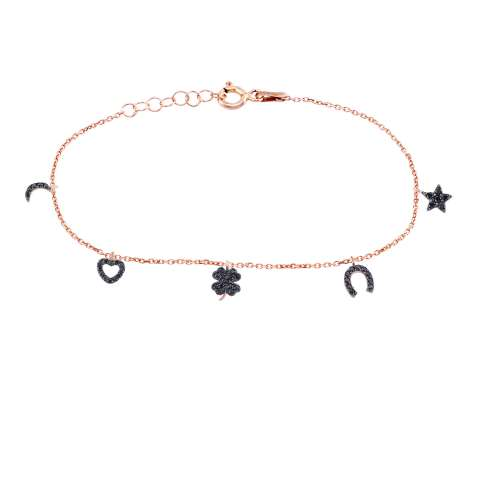 Bracciale argento 925 oro rosa ciondoli Lucky Charms Zirconi neri