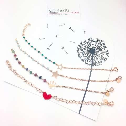 Bracciale argento 925 oro rosa con rosario pietre multicolor e corona