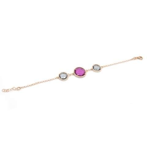 Bracciale argento 925 oro rosa Cristalli Swarovski fuxia e grigi