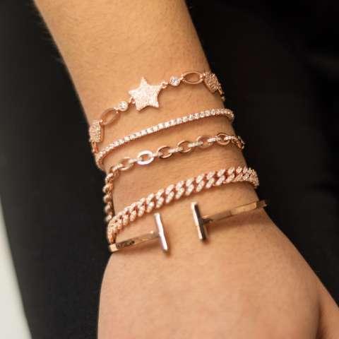 Bracciale argento 925 oro rosa Cuori e stelle Zirconi