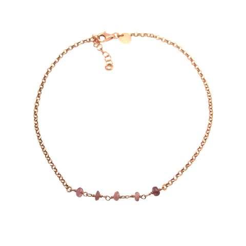 Bracciale argento 925 oro rosa e pietre dure rosa