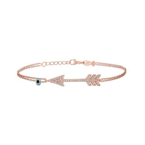 Bracciale argento 925 oro rosa Freccia Cupido brillanti