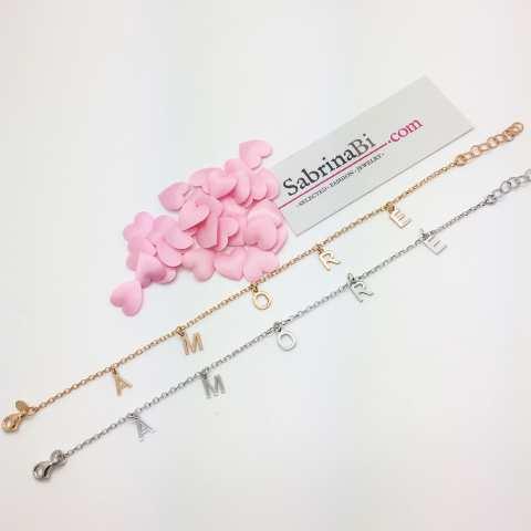 Bracciale argento 925 oro rosa lettere Amore