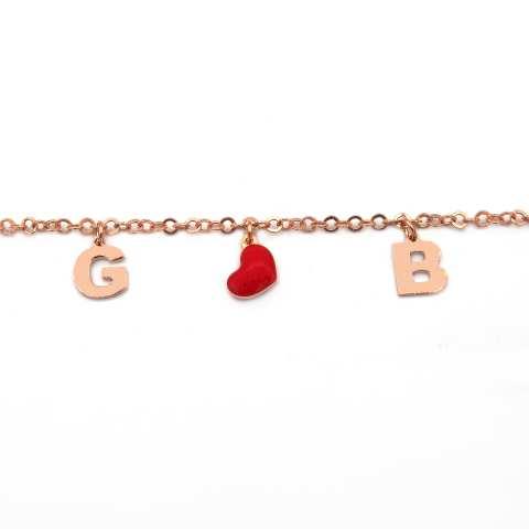 Bracciale argento 925 oro rosa lettere personalizzate nome e cuore rosso