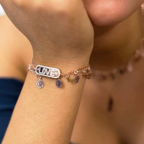 Bracciale argento 925 oro rosa piastrina scritta LOVE Zirconi