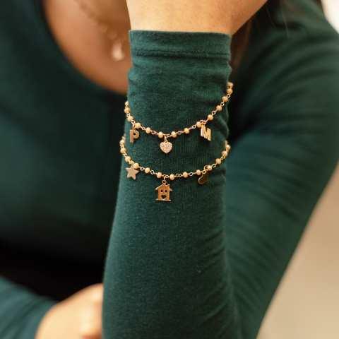 Bracciale argento 925 oro rosa rosario Opale rosa Casetta
