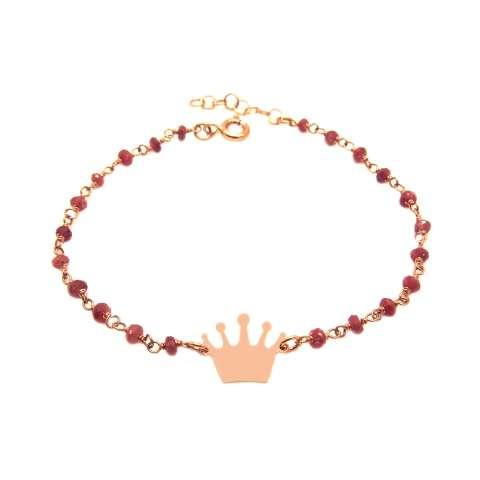 Bracciale argento 925 oro rosa rosario radici di Rubino e corona