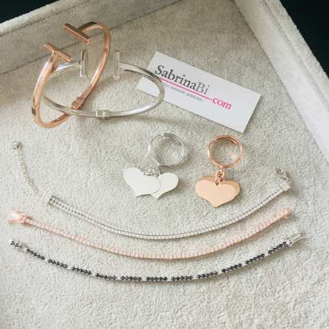 Bracciale donna argento 925 oro rosa tennis Zirconi
