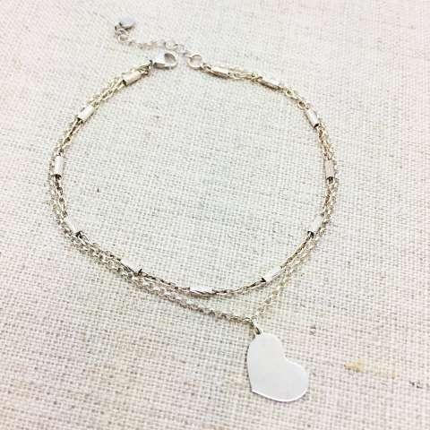 Bracciale doppio Big Heart argento 925