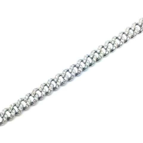 Bracciale maglia groumette argento 925 Zirconi