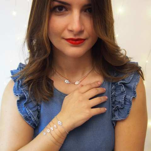 Bracciale mini Mano di Fatima brillanti argento 925 oro rosa