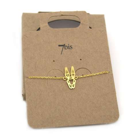 Bracciale oro ciondolo coniglio stilizzato