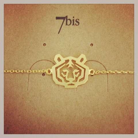 Bracciale oro ciondolo testa di tigre