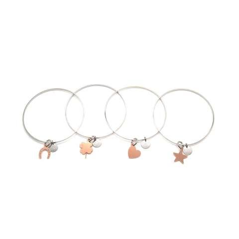 Bracciale rigido bangle argento con quadrifoglio oro rosa