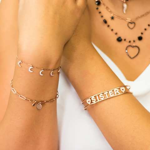 Bracciale rigido schiava argento 925 oro rosa Sister