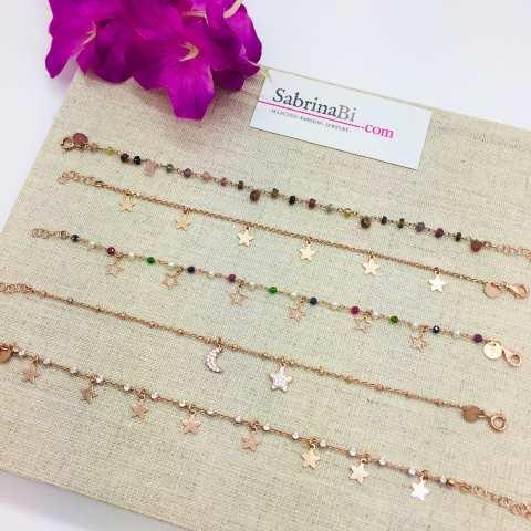 Bracciale rosario argento 925 oro rosa perle, pietre dure multicolor e stelline