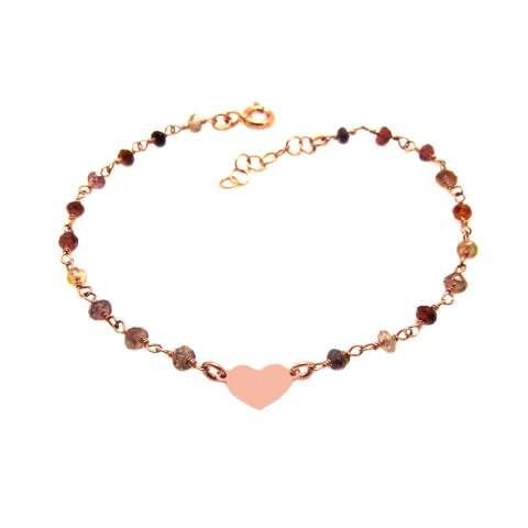 Bracciale rosario argento 925 oro rosa pietre dure multicolor e cuore centrale