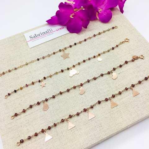 Bracciale rosario argento 925 oro rosa pietre dure multicolor e stella