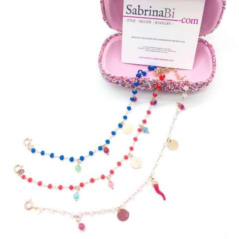 Bracciale rosario argento 925 oro rosa pietre dure rosa Cornetto rosso e Coins