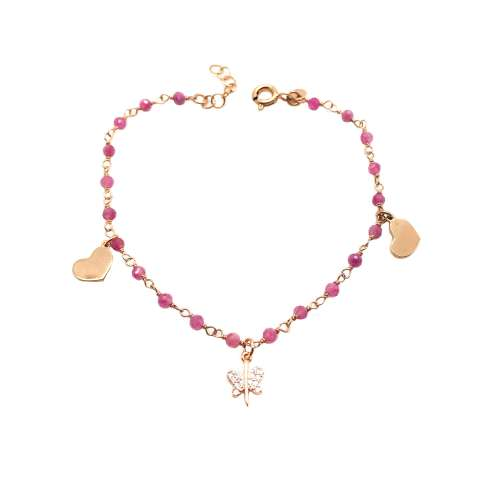 Bracciale rosario argento 925 oro rosa Quarzo rosa e farfalla