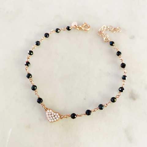 Bracciale rosario argento 925 oro rosa Spinelli neri e cuore Zirconi
