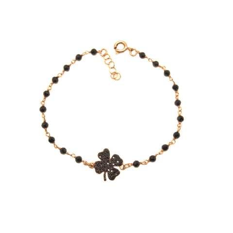 Bracciale rosario argento 925 oro rosa Spinelli neri e quadrifoglio Zirconi neri
