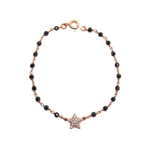 Bracciale rosario argento 925 oro rosa Spinelli neri e stella Zirconi
