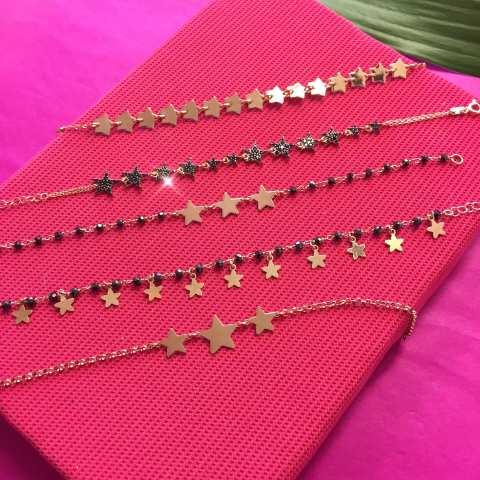 Bracciale rosario argento 925 oro rosa Spinelli neri e Stelle