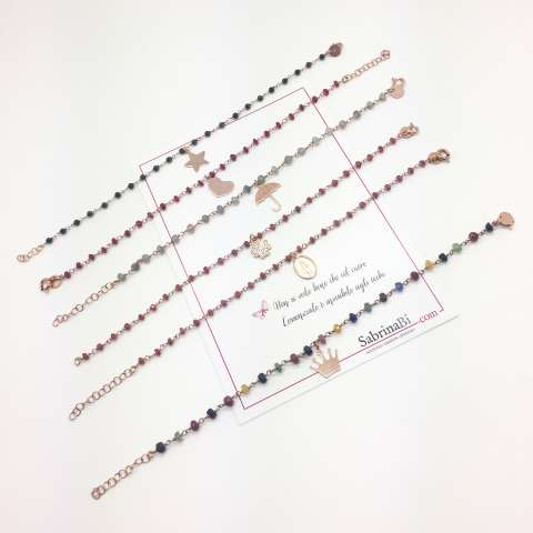 Rose gold sterling silver ruby red rosary and clover bracelet