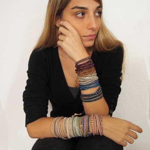 Bracciale unisex multigiro wrap cuoio e cristalli bronzo