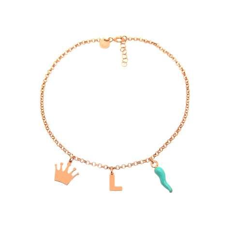 Cavigliera argento 925 oro rosa lettera iniziale nome, corona e cornetto Tiffany