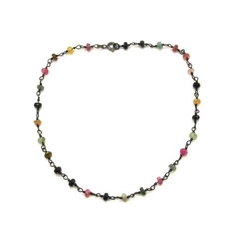 Cavigliera argento 925 rodiato nero rosario pietre multicolor