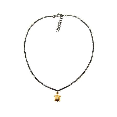 Cavigliera argento 925 rodiato nero tartaruga oro