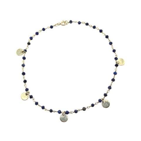 Cavigliera rosario argento 925 Lapislazzuli Coins