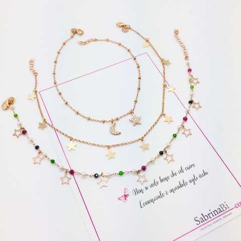 Cavigliera rosario argento 925 oro rosa perle, pietre dure multicolor e stelline