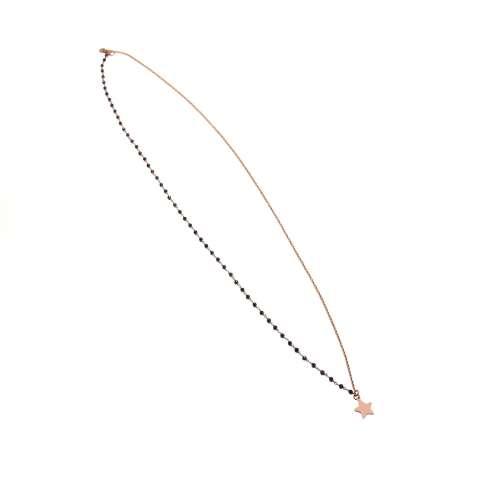 Collana 2 usi rosario argento 925 oro rosa Spinelli neri e stella
