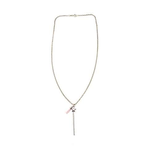 Collana argento 925 bacchetta magica e nappina rosa