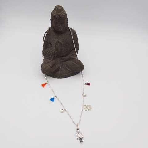 Collana argento 925 Buddha, fiore di loto e nappine