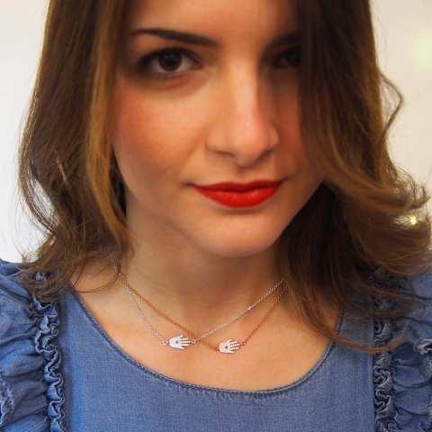 Collana argento 925 Mano di Fatima Hamsa Zirconi