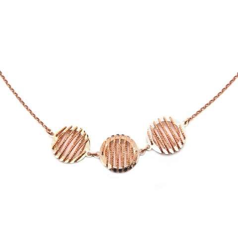 Collana argento 925 oro rosa 3 ciondoli bicolore