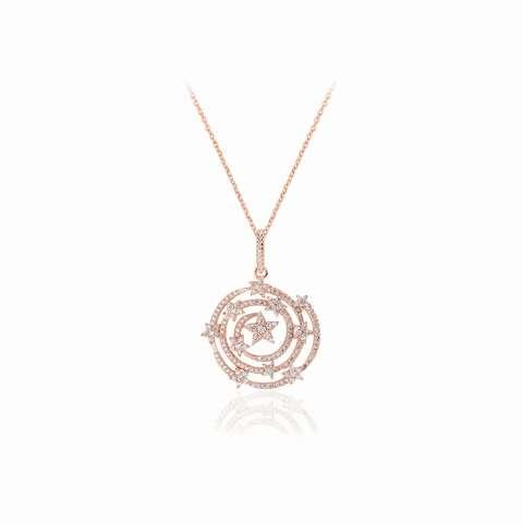 Collana argento 925 oro rosa Costellazione Stelle brillanti