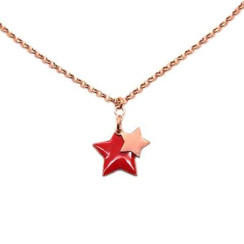 Collana argento 925 oro rosa Doppia Stella