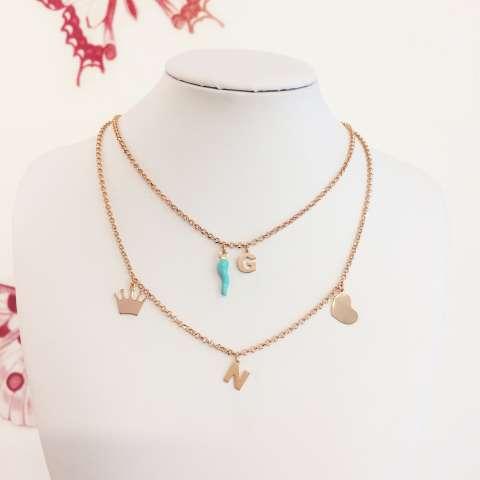 Collana argento 925 oro rosa lettera iniziale nome e cornetto verde Tiffany